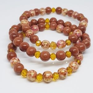 Czech Glass Luster Beaded Bracelets ( Set of 3)